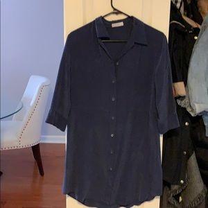 Navy blue silk equipment dress